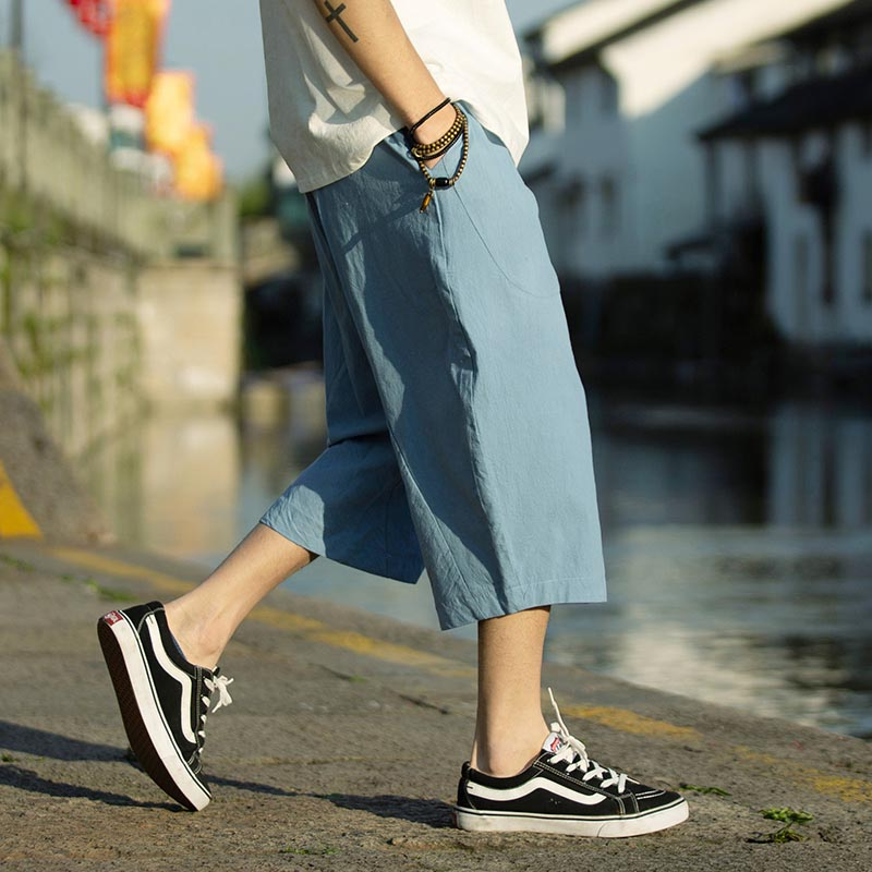 Summer Original Chinese Style Cropped Trousers Cotton And Linen Loose Linen New Men's Solid Flax Chinese Style Lin