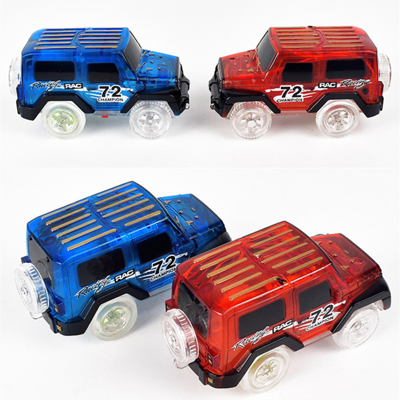 2pcs lot Glowing Racing Set for Kids LED Light Up Magic Cars Electronics Car font b