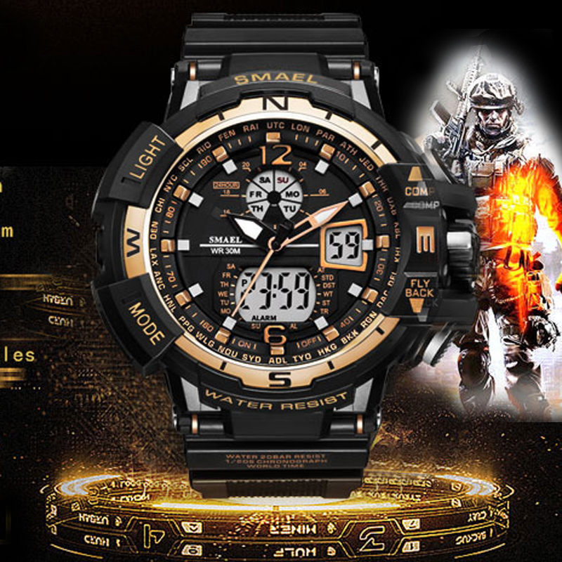все цены на New SMAEL Watch Men G Style Wateproof S Shock Sport Mens Watches Top Brand Luxury LED Digital-watch Military Army Wristwatches