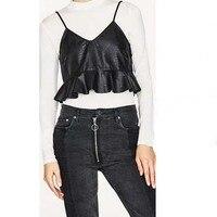 New Sexy PU Tank Top Fashion Women S Deep V Neck Black PU Leather Crop Tops