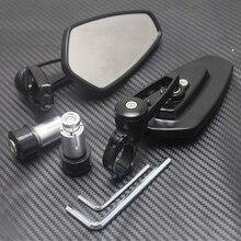 "1 par 7/8 ""negro bicicleta espejos laterales de la motocicleta atv 22mm cnc handle bar end espejo retrovisor para honda/kawasaki/suzuki/yamaha"