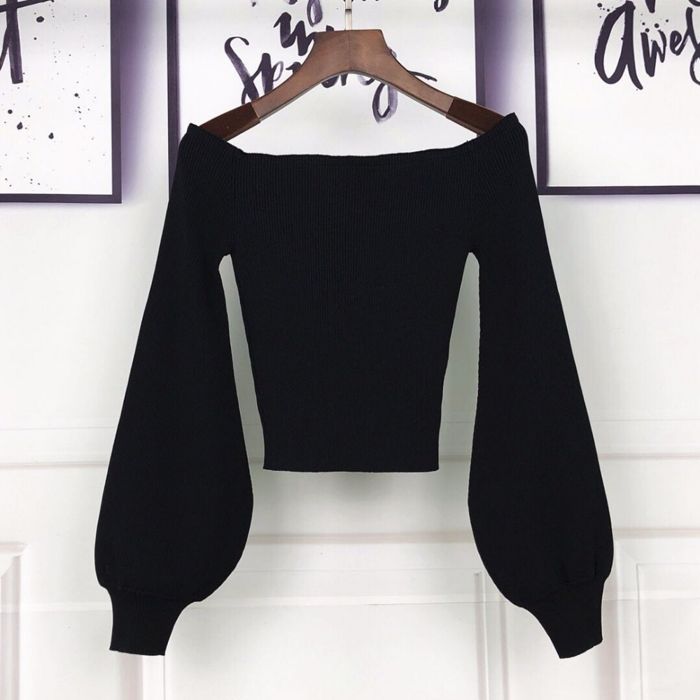 Manches Tricoté As Style Épaule Tops Femmes Nouveau Bouffantes Sexy Solides Pull Pic Slash 2018 Court Vêtements Cou Mode 7qaxqp6w