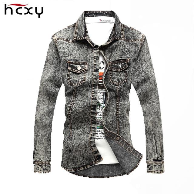 HCXY 2016 recién llegado de china importados hombres de mezclilla ocasional de La Vendimia chaqueta de mezclilla de moda denim camisa de los hombres de manga larga camisa de los pantalones vaqueros hombres
