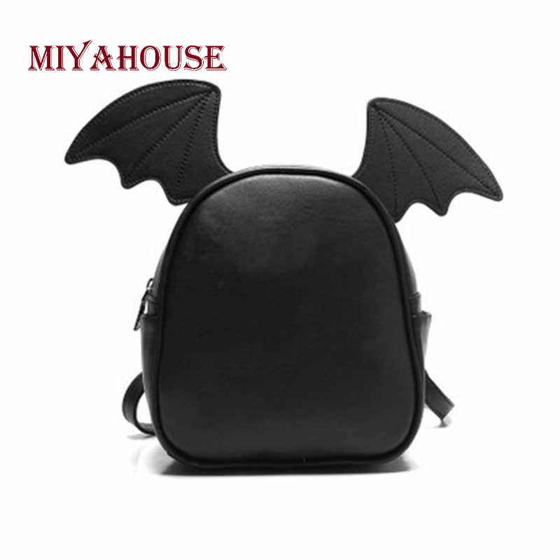 Miyahouse Fashion Small Leather Backpack For Teenage Girls Cute Female Backpack With Three Pairs Of Ears Bat Wing Shoulder Bag