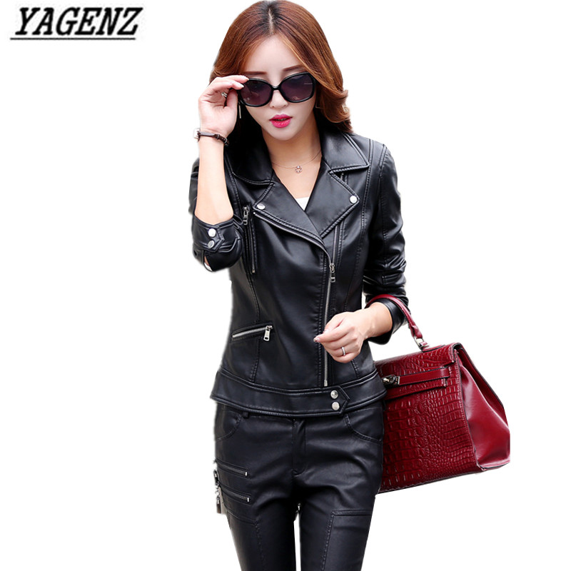 YAGENZ New Women Short   Leather   Jacket 2017 Fashion Solid Slim Faux   Leather   Coat Tops Black Motorcycle Cool Outerwear Jacket 3XL