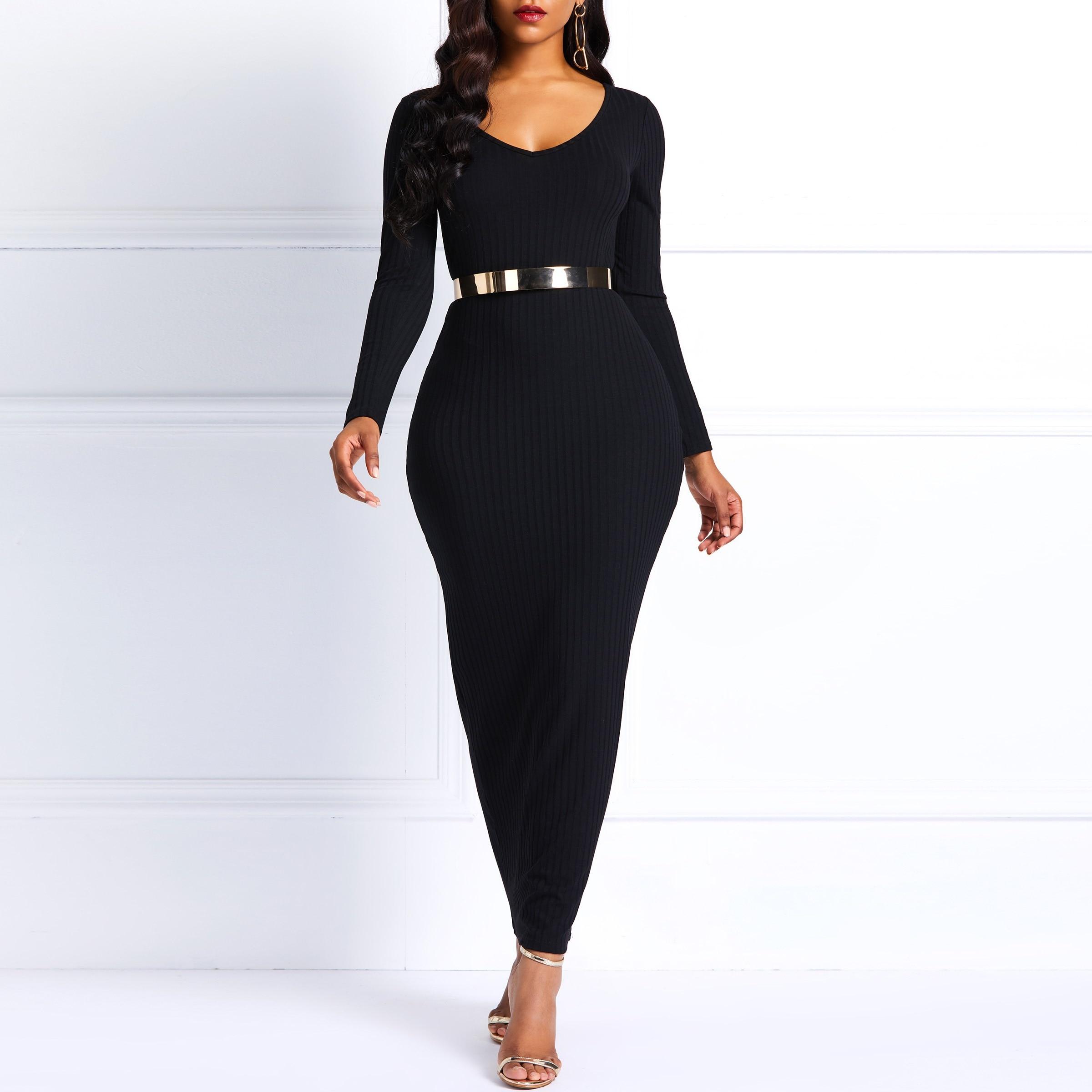 Bodycon dress long sleeve maxi winter dresses