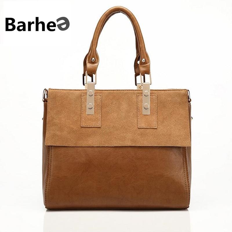 ФОТО BARHEE Genuine Leather Women Tote Bag Women Leather Handbag Luxury Cowhide Messenger Bags Matte Large Famous Brand Ladies Bags