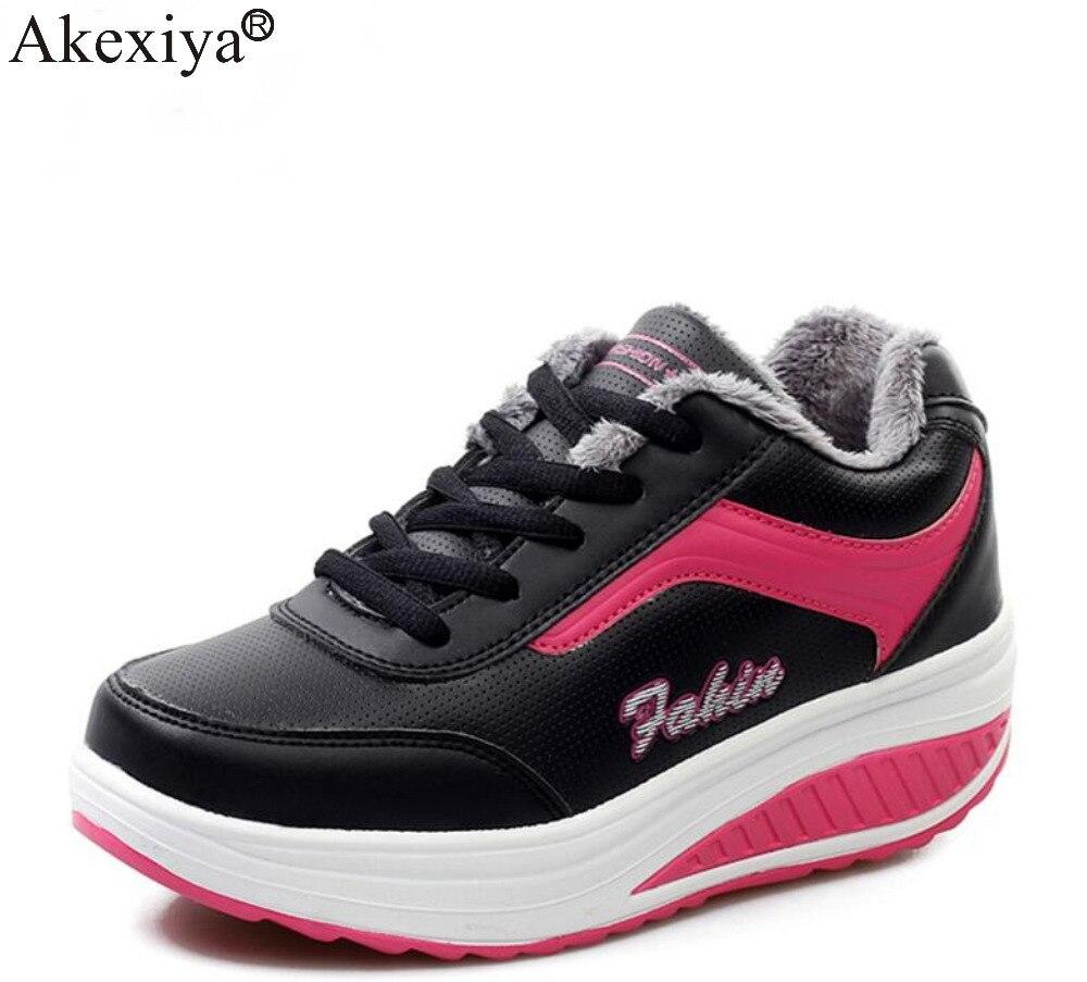 Akexiya Winter Running Shoes Women Wedge Platform Walking Sport Shoes Woman Fitness Swing Rocking Shoes Ladies Sneakers цена