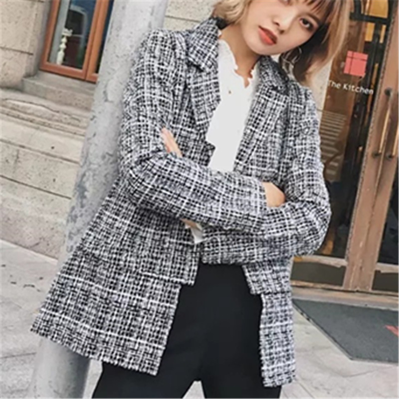 Fashion Toyouth England Style Elegant Tweed Coat Bodycon 2018 Clothing Plaid Women Wool Regular Dark Grey Coat