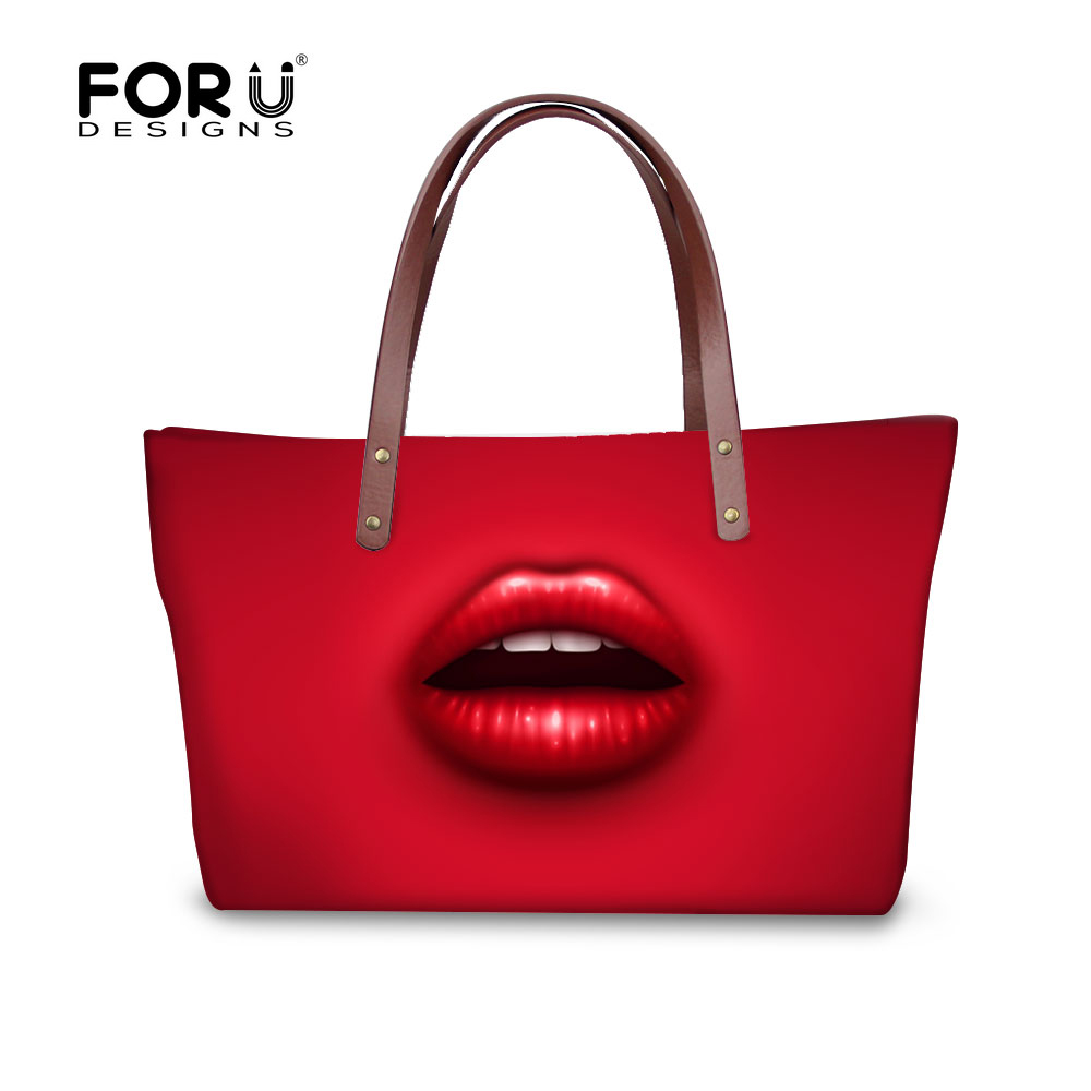 ФОТО Trendy 2017 red women's messenger bag luxury sex lips ladies handbag designer top-handle bags high quality large dark blue tote