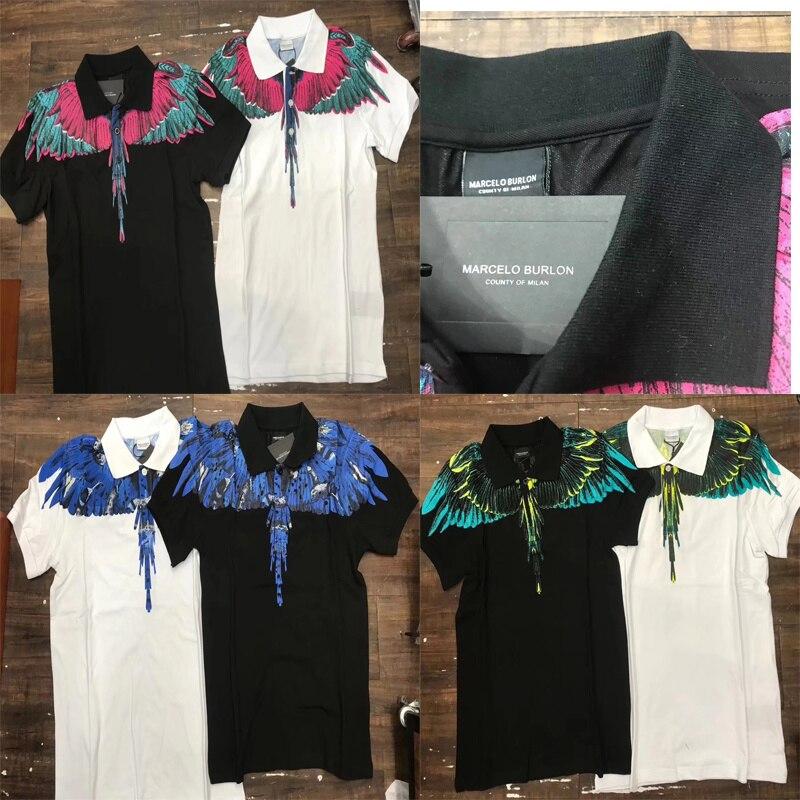 19ss Marcelo Burlon Polo Shirts 1:1 Hohe Qualität Baumwolle Hemd Männer Frauen Flügel Drucken Mb Shirts Hip Hop Marcelo Burlon Polo Waren Des TäGlichen Bedarfs