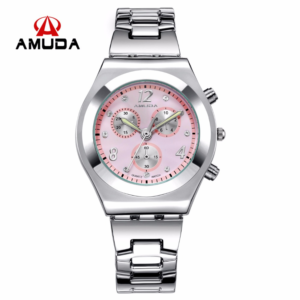Amuda New Fashion Watch Women Luxury Stainless Steel Elegant Color Dial Casual Quartz Wristwatch Ladies Clock Relogio Feminino new fashion unisex women wristwatch quartz watch sports casual silicone reloj gifts relogio feminino clock digital watch orange