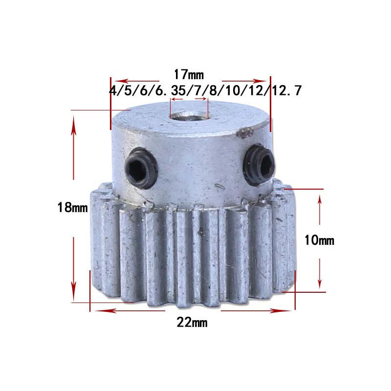 1M-30T 12.7mm Bore Hole 30 Teeth 30T Module 1 Motor Metal Gear Wheel Top Screw