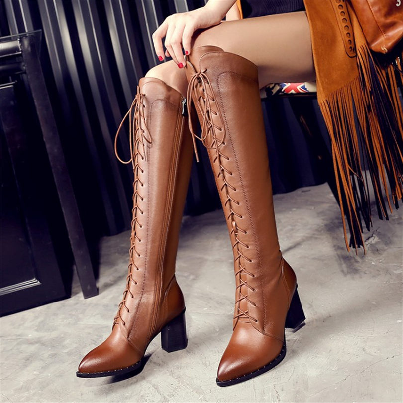 NAYIDUYUN     Women Shoes Genuine Leather Pointed Toe Knee High Boots Winter Warm Chunky High Heels Lace Up Strappy Pumps ShoesNAYIDUYUN     Women Shoes Genuine Leather Pointed Toe Knee High Boots Winter Warm Chunky High Heels Lace Up Strappy Pumps Shoes