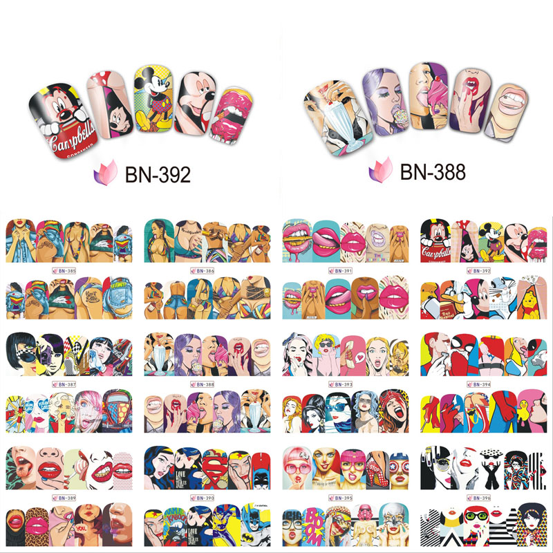 <font><b>12</b></font> Designs Pop Nail Sticker Water Transfer Nails Decals <font><b>Sexy</b></font> Women Art Decor DIY Nail Decal Cool <font><b>Girl</b></font> Lips Manicure Art Stickers image