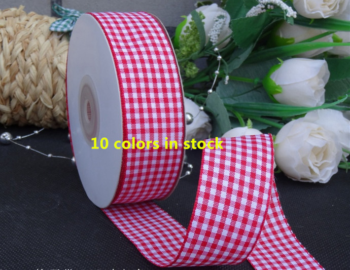 1 25mm Multicolor font b Tartan b font Plaid Ribbon Bows Appliques Sewing Crafts 25Y