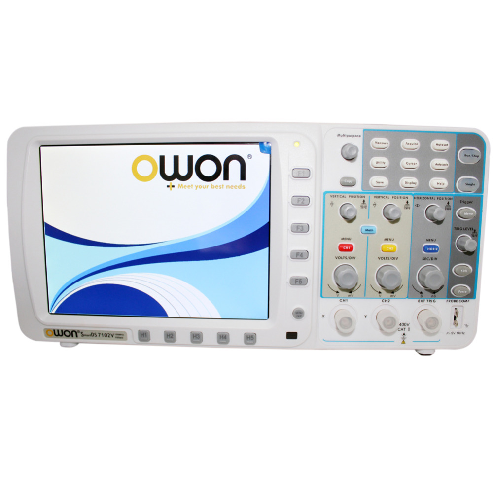 "OWON OWON 100 МГц осциллограф SDS7102 1 г/локон большой "" ЖК-дисплей LAN VGA аккумулятором"