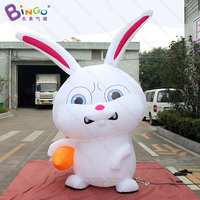 HOT SALES 3mh inflatable cute rabbit with radish decoration toy /inflatable bunny balloon customized for advertising