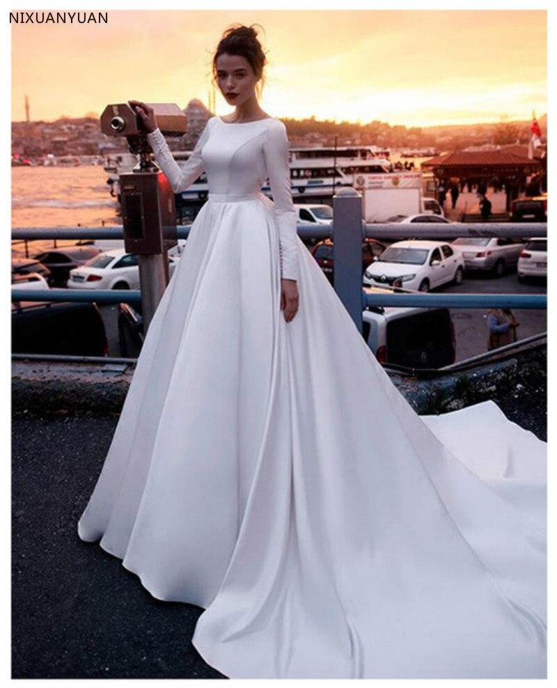 Boho robe de mariée manches une ligne Vintage princesse informelle robe de mariée élégante plage robe de mariée 2019