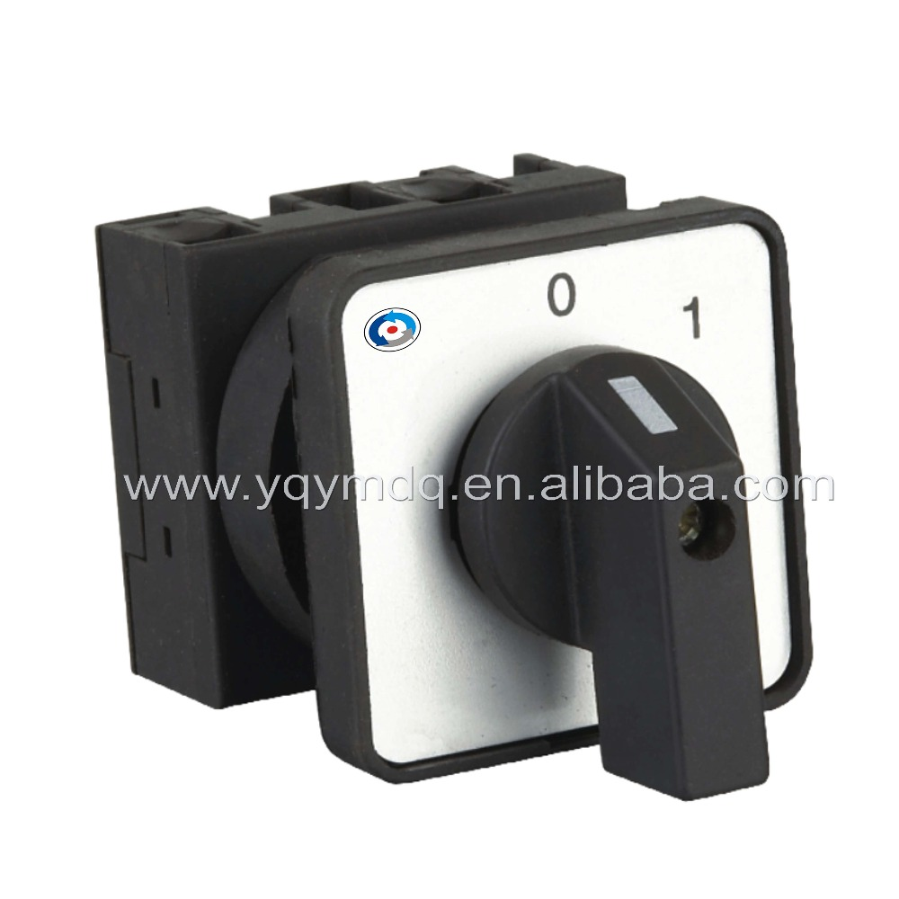 Rotary switch 2 position 0-1 YMW42-20/1 black universal changeover cam switch 1 pole 20A 4 terminal screw silver contact 0 1