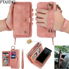 Multifunction Leather Zipper Wallet Card Bag Case For Samsung Galaxy S10e Note 8 9 10 Pro S7 Edge S8 S9 S10 Plus Removable Handbag For iPhone 11 Pro XS Max XR X 6 6S 7 8 Plus
