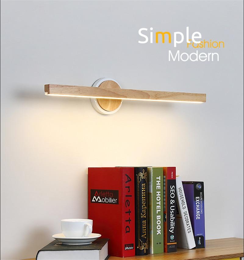 Nordic Design Bathroom Sconce Wall Light LED Modern Mirror Wall Lamp Wood Can Adjusted Loft Home Decor Indoor Lighting Fixtures