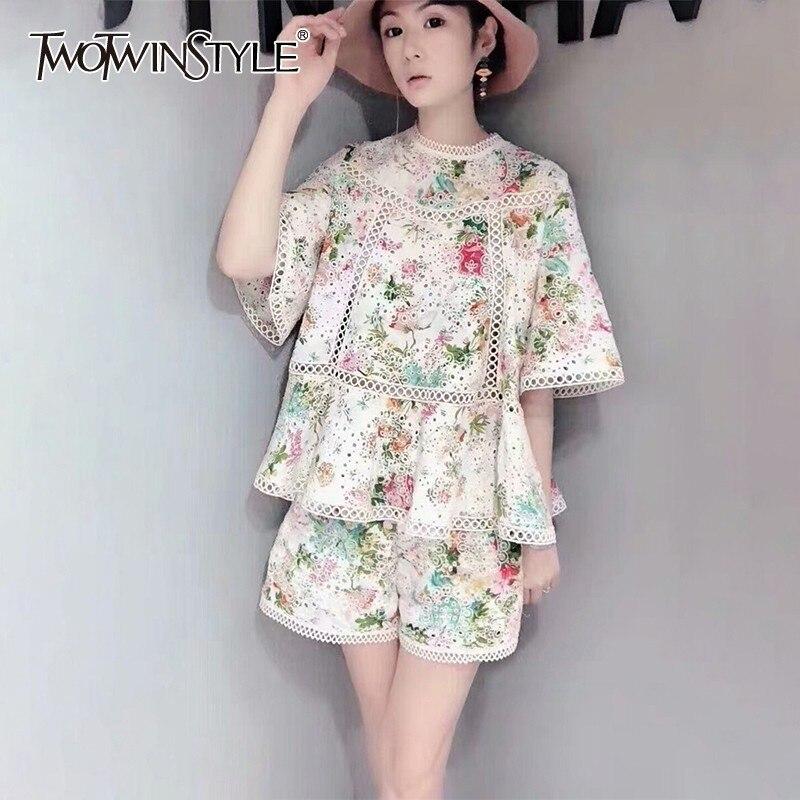 TWOTWINSTYLE Summer Print Hollow Out Women Suit O Neck Half Sleeve Shirt High Waist Wide Leg