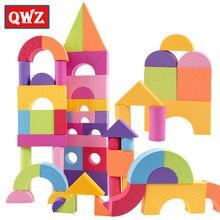 QWZ 50 adet EVA güvenli çocuk yapı tuğla blokları köpük inşaat yumuşak oyuncak çocuk Zip durumda çocuklar Montessori zeka egzersiz