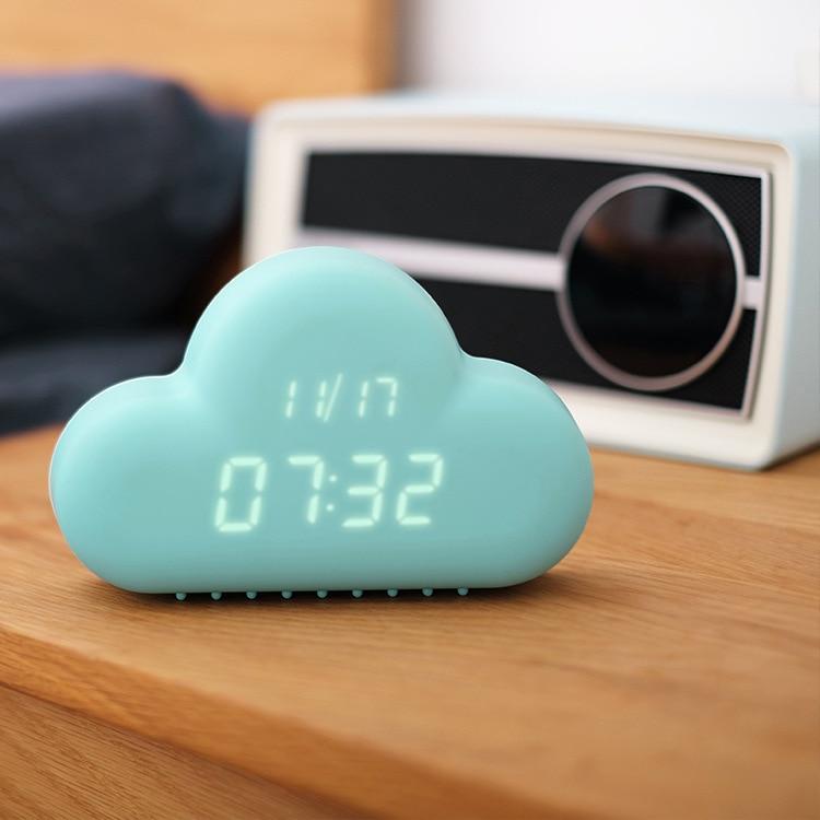 Cute Cyan Cloud Shape Sound Control Digital Alarm Clock Time Day Display Polish Hot Free Shipping