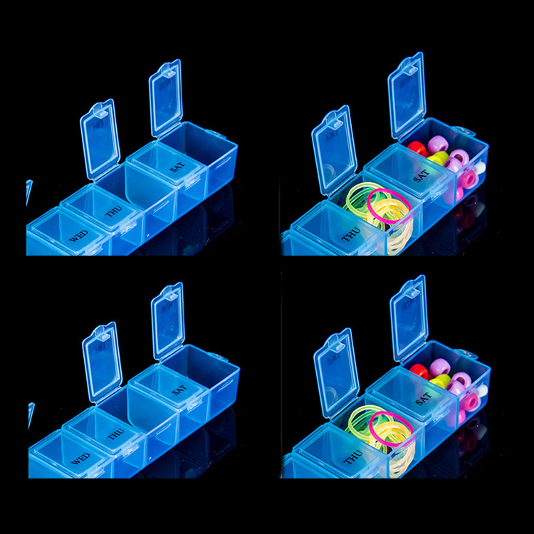 7 <font><b>Day</b></font> Pill Medicine Tablet pillbox Dispenser Organizer Case pill box multicolor container for medicines image