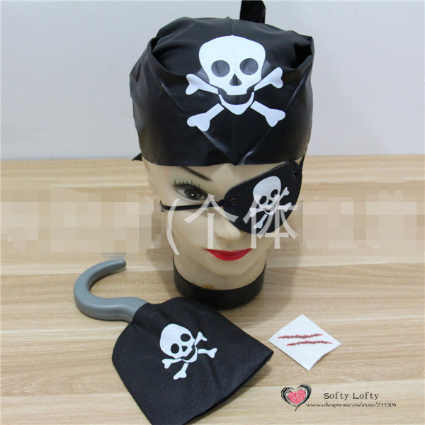 Free Shipping 1set=4pcs Pirate Costumes Eye patch+Hook+Scarf+Scar for kids Halloween Party Toys Make up Prank Joke Supply Gifts