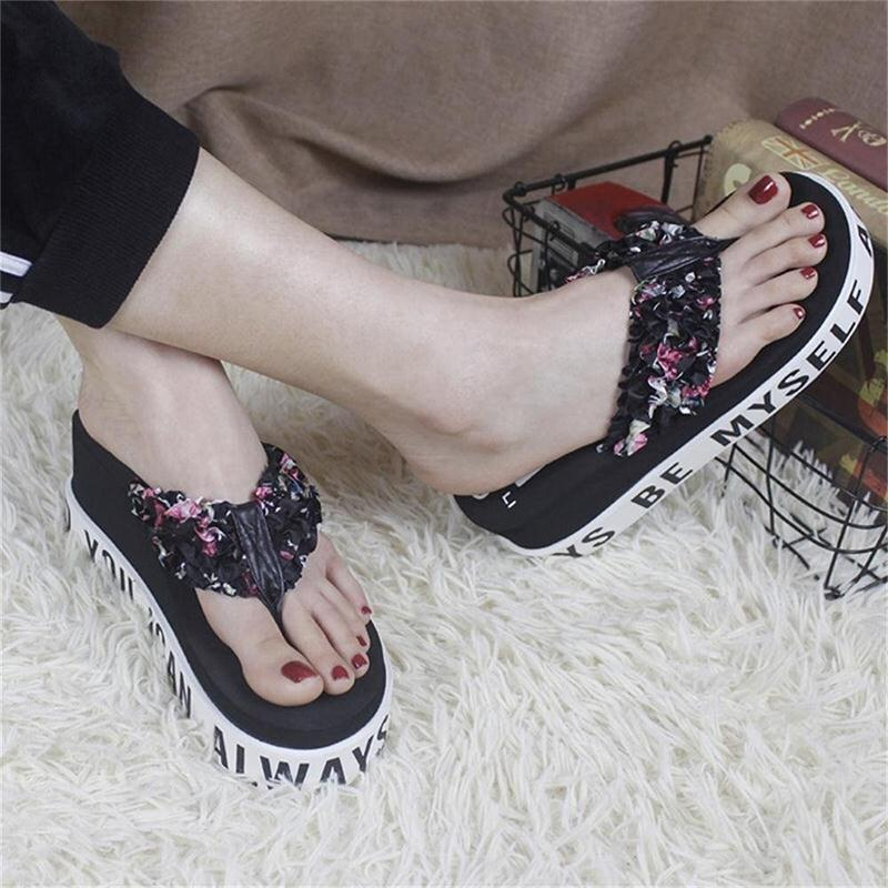 6802a1dac4ea ... 2018 Brand Summer Woman High-heeled Flip Flops Thick Non Slip Bottom  Slippers Ladies Beach Sandals Female Outdoor Fashion Shoes. -36%. Click to  enlarge