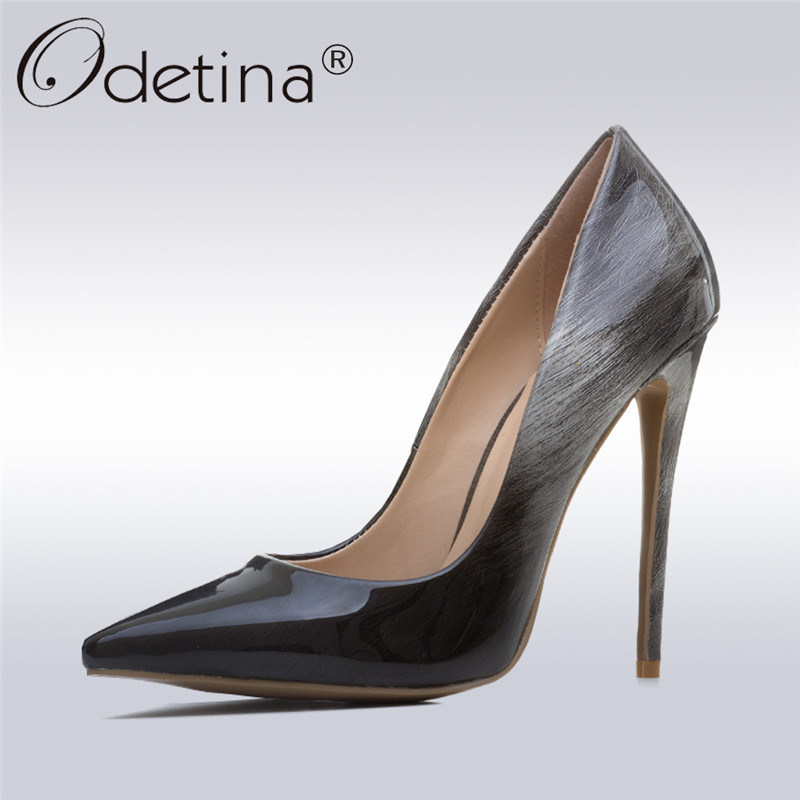 Odetina 2018 New Patent Leather Gradient High Heel Pumps Pointed Toe Stiletto Heels Sexy Party Prom Evening Shoes Big Size 33-43 odetina 2017 new women 12 cm gradient heels slip on extreme high heel stiletto pumps sexy party shoes pointed toe big size 33 43