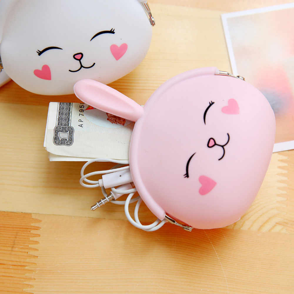 Mini key hook coin bag Pouch Cartoon Girl Zero Wallet Children Girls Shoulder Bag Birthday Gift Handbags Long ear rabbit  Pouch