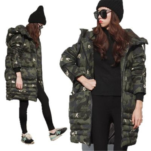 2016 Winter Long Jacket Parka Women Hooded Jacket Thicken Camouflage Cotton Down Jacket Female Warm Winter Jacket Coat A2113