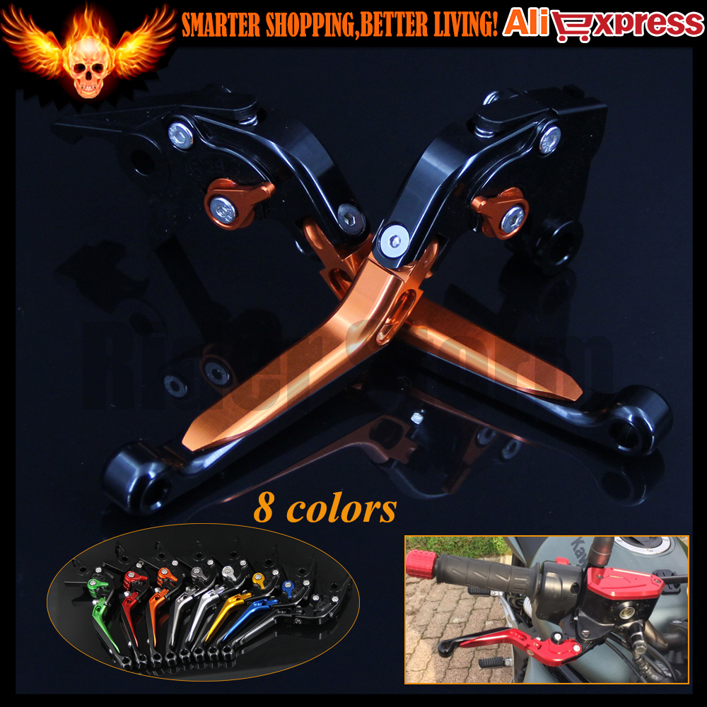 Orange+Black 8 Colors CNC Adjustable Folding Extendable Motorcycle Brake Clutch Levers For Kawasaki ZZR1200 2002 2003 2004 2005 billet alu folding adjustable brake clutch levers for motoguzzi griso 850 breva 1100 norge 1200 06 2013 07 08 1200 sport stelvio