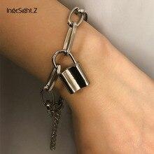 IngeSight.Z Charm Lock Pendant Bracelets Bangles Wrist Chain Simple Minimalism Geometric Square Bracelet for Women Jewelry