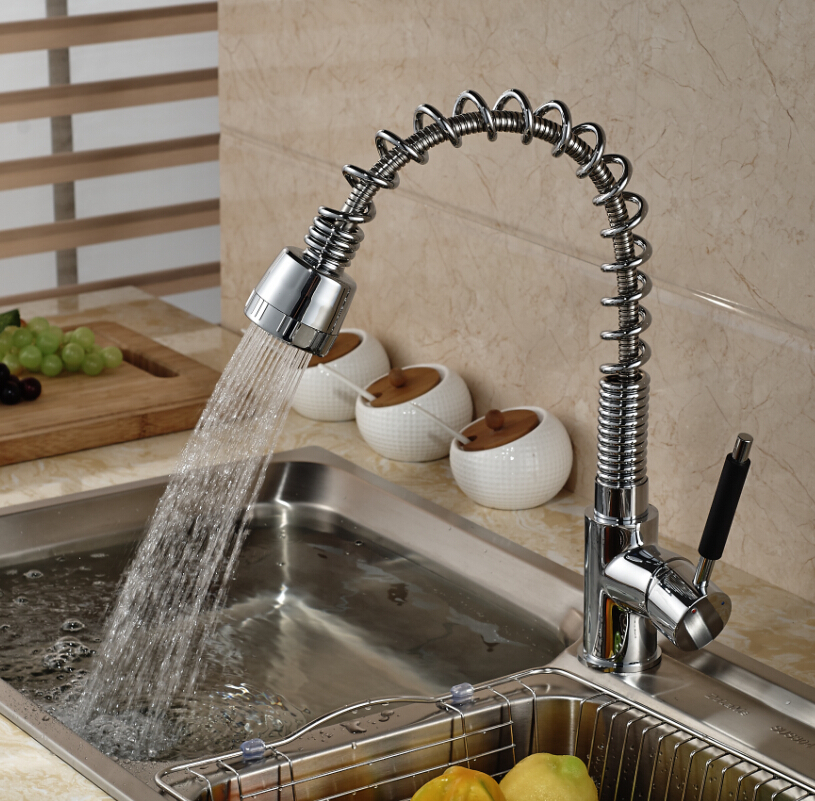 ФОТО Single Handle Spring Pull down/out Kitchen Mixer Faucet Deck Mount Dual Sprayer Nozzle with Hot and Cold Water
