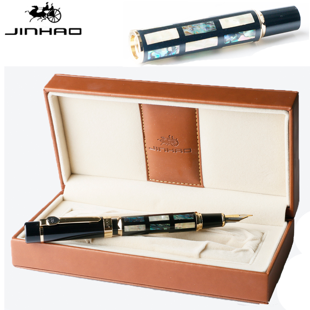 Luxury Writing Gift JinHao 650 with Gold Clip and 8802 with Silver Clip Shell Carving Classic Fountain Pen Mb or Calligraphy Nib