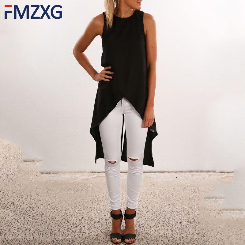 2018 New Summer O Neck Cotton Chiffon   Shirt   Sexy Open Back Sleeveless Long   blouse     Shirt   Bottoming Women's Fashion Long Top
