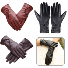 2019 Women Luxury Bowknot Winter Warm Gloves Mittens Elegant Lady Solid PU Leather NEW