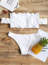 Bikini Swimwear Women Ruffles Ribbed Off The Shoulder
