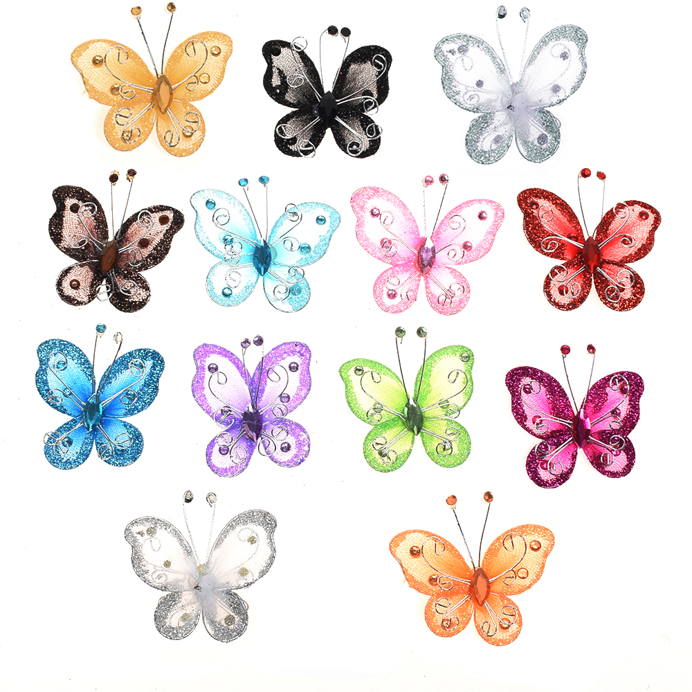 10Pcs Mixed Wire Rhinestone Butterfly Wedding Decorations For Scrapbook Home Decor Party Accessories