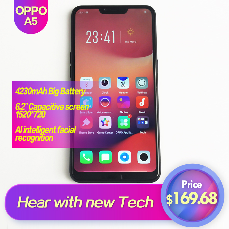 """OPPO A5 Original Android Smart Phone 6.2"""" Full Screen Global Rom 4230mAh 1520x720 Face recognition 1080P 13MP+2MP"""