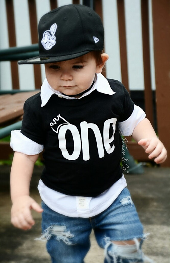 Newborn Toddler Kids Baby Boy Cotton Clothes T Shirt One Letter Tops