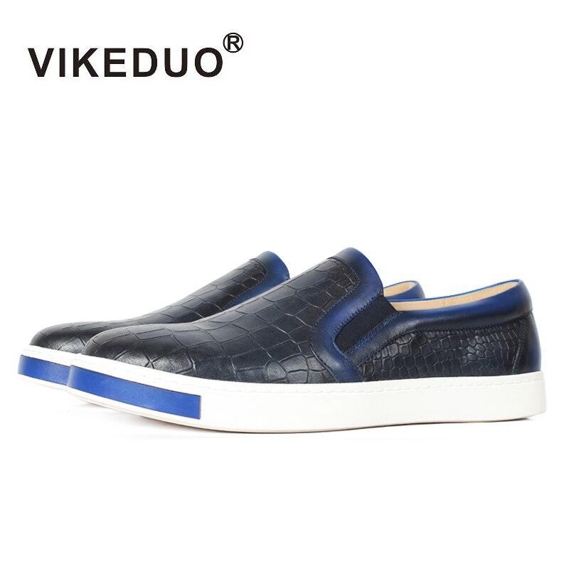 Zapatos de cuero de vaca con estampado de cocodrilo azul Casual VIKEDUO para hombre, suela de goma antideslizante, calzado de hombre hecho a mano hombre