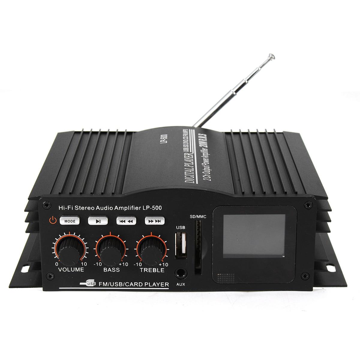 Lepy 50W 12V Mini Digital Amplifier FM Bass Booster For Car Home MP3 AMP Player