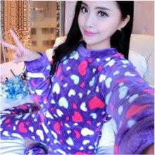 Купить с кэшбэком 2017 Pyjamas Winter Women Pijamas Mujer Women Costume Homewear Coral Fleece Pajamas Set Keep Warm Sleepwear Set B-5984