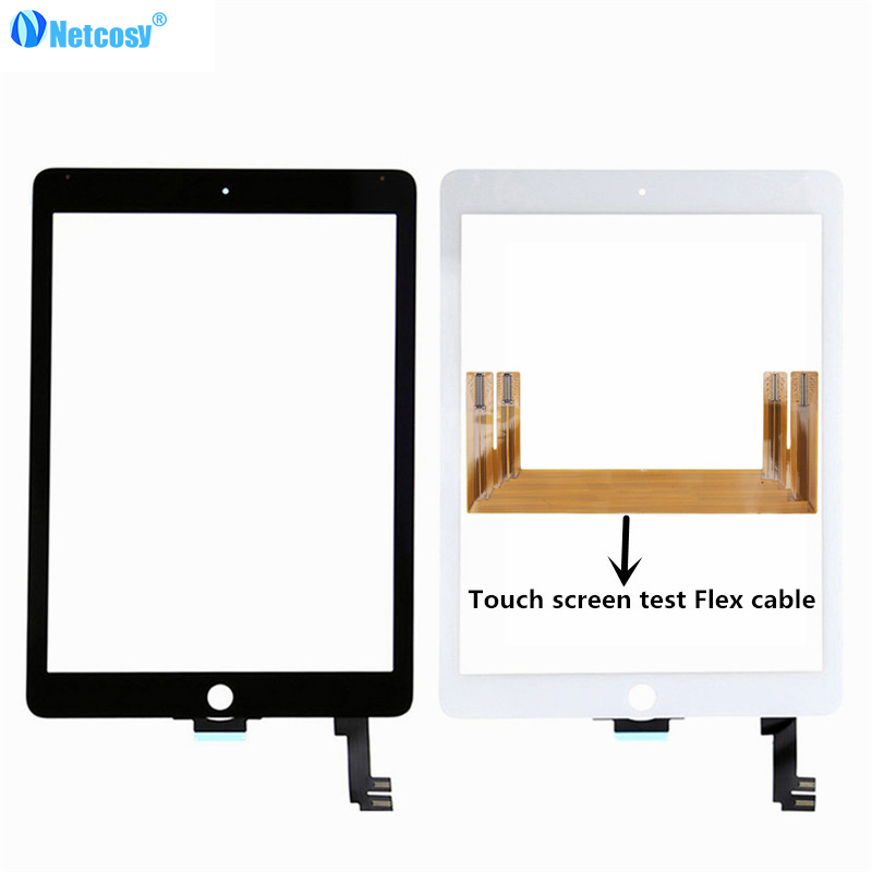 Netcosy Touchscreen For ipad Air 2 A1567 A1566 touch screen digitizer panel & TP test flex cable for ipad 6 Tablet touch panel netcosy for ipad air touchscreen high quality black