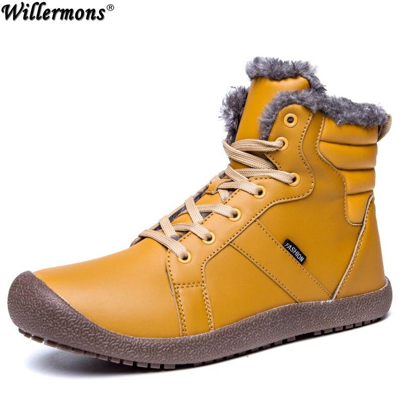 Winter Plus Size Men's Outdoor Anti-slip Snow Boots With Fur Men Warm Cotton Mid-Calf Boots Shoes Botas Hombre